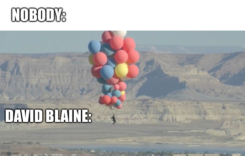 NOBODY:; DAVID BLAINE: | image tagged in nobody,david blaine,accession,ballons,turning tricks,magic | made w/ Imgflip meme maker