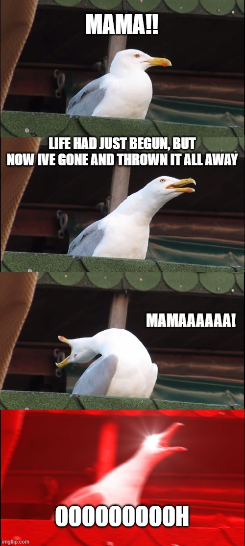 If you know this song, you da real MVP |  MAMA!! LIFE HAD JUST BEGUN, BUT NOW IVE GONE AND THROWN IT ALL AWAY; MAMAAAAAA! OOOOOOOOOH | image tagged in memes,inhaling seagull | made w/ Imgflip meme maker