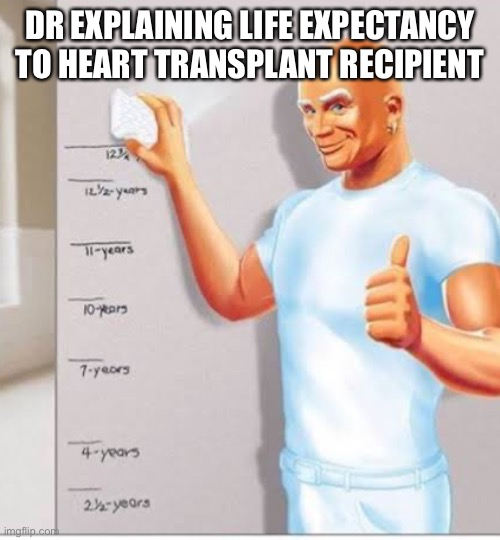 DR EXPLAINING LIFE EXPECTANCY TO HEART TRANSPLANT RECIPIENT | image tagged in mr clean,doctor,transplant,heart,broken heart,my heart | made w/ Imgflip meme maker
