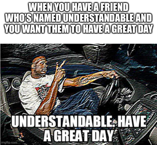 Have a great day |  WHEN YOU HAVE A FRIEND WHO'S NAMED UNDERSTANDABLE AND YOU WANT THEM TO HAVE A GREAT DAY | image tagged in understandable have a great day | made w/ Imgflip meme maker