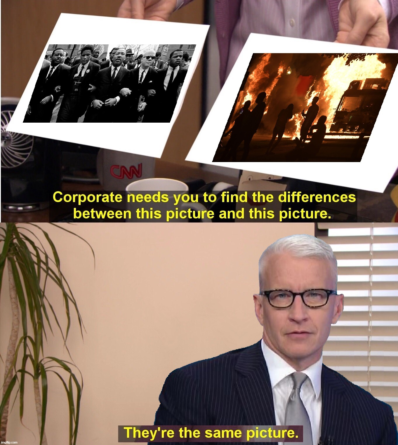 Can You Tell The Difference? Anderson Can't |  . | image tagged in memes,funny,cnn,anderson cooper,fake news,blm | made w/ Imgflip meme maker