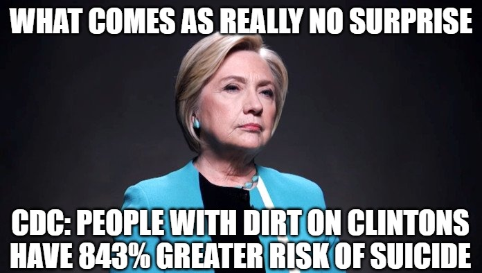 They all seem to die |  WHAT COMES AS REALLY NO SURPRISE; CDC: PEOPLE WITH DIRT ON CLINTONS HAVE 843% GREATER RISK OF SUICIDE | image tagged in dirt,clinton,memes,funny,2020,crooked | made w/ Imgflip meme maker