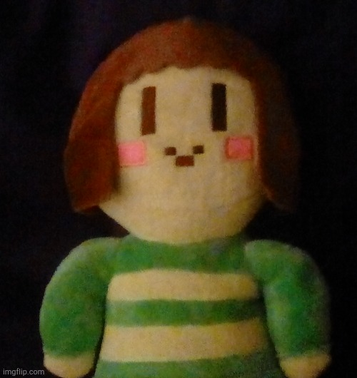 Look what I got for my birthday | image tagged in chara,plush,so cute,too cute,kawaii | made w/ Imgflip meme maker