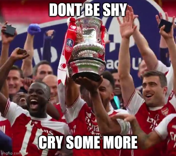 DONT BE SHY; CRY SOME MORE | image tagged in arsenal | made w/ Imgflip meme maker