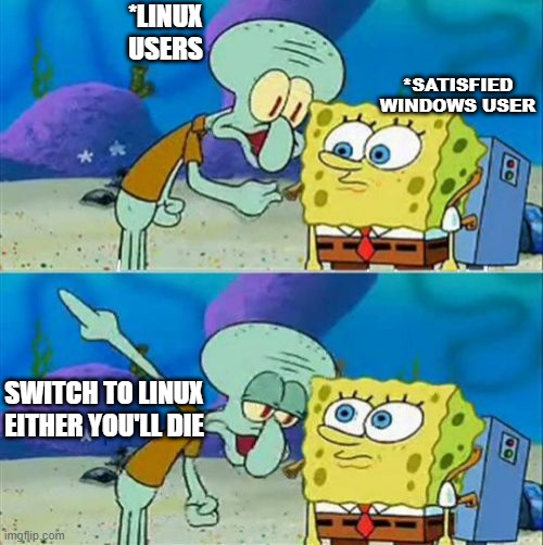 Linux Users Motivating Windows User |  *LINUX USERS; *SATISFIED WINDOWS USER; SWITCH TO LINUX EITHER YOU'LL DIE | image tagged in memes,talk to spongebob,programming,linux,windows | made w/ Imgflip meme maker