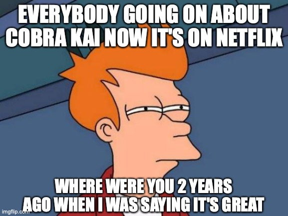 Cobra Kai |  EVERYBODY GOING ON ABOUT COBRA KAI NOW IT'S ON NETFLIX; WHERE WERE YOU 2 YEARS AGO WHEN I WAS SAYING IT'S GREAT | image tagged in memes,cobra kia,netflix | made w/ Imgflip meme maker