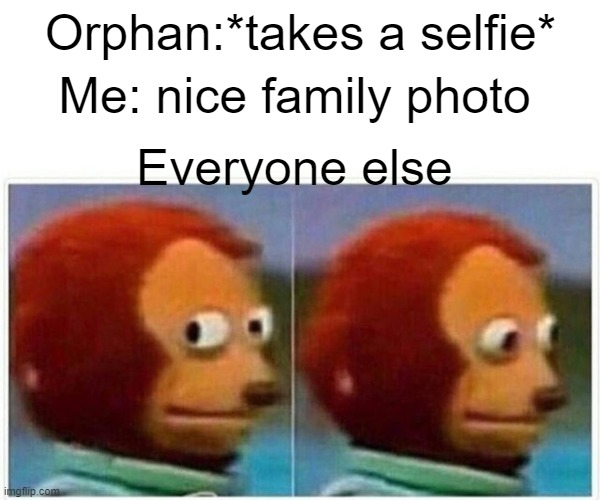 Monkey Puppet Meme |  Orphan:*takes a selfie*; Me: nice family photo; Everyone else | image tagged in memes,monkey puppet | made w/ Imgflip meme maker