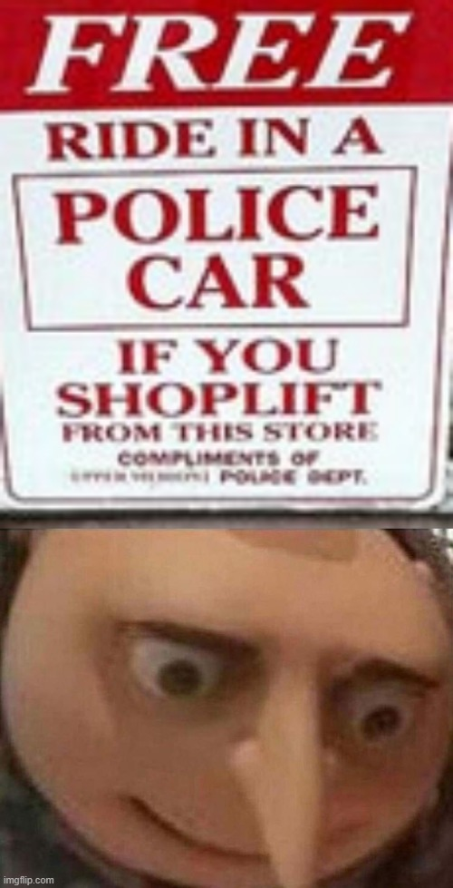facepalm | image tagged in gru meme,memes,funny,stupid signs,police,shoplifting | made w/ Imgflip meme maker