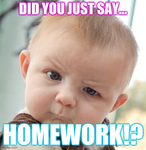 When the teacher says that you had homework |  DID YOU JUST SAY... HOMEWORK!? | image tagged in memes,skeptical baby | made w/ Imgflip meme maker
