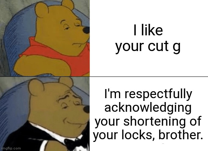 I like your cut g |  I like your cut g; I'm respectfully acknowledging your shortening of your locks, brother. | image tagged in memes,tuxedo winnie the pooh | made w/ Imgflip meme maker