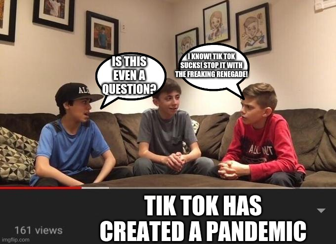 Is Fortnite Actually Overrated? |  I KNOW! TIK TOK SUCKS! STOP IT WITH THE FREAKING RENEGADE! IS THIS EVEN A QUESTION? TIK TOK HAS CREATED A PANDEMIC | image tagged in is fortnite actually overrated | made w/ Imgflip meme maker