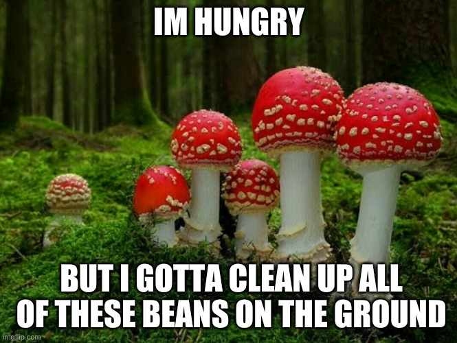 :I |  IM HUNGRY; BUT I GOTTA CLEAN UP ALL OF THESE BEANS ON THE GROUND | image tagged in mushrooms | made w/ Imgflip meme maker