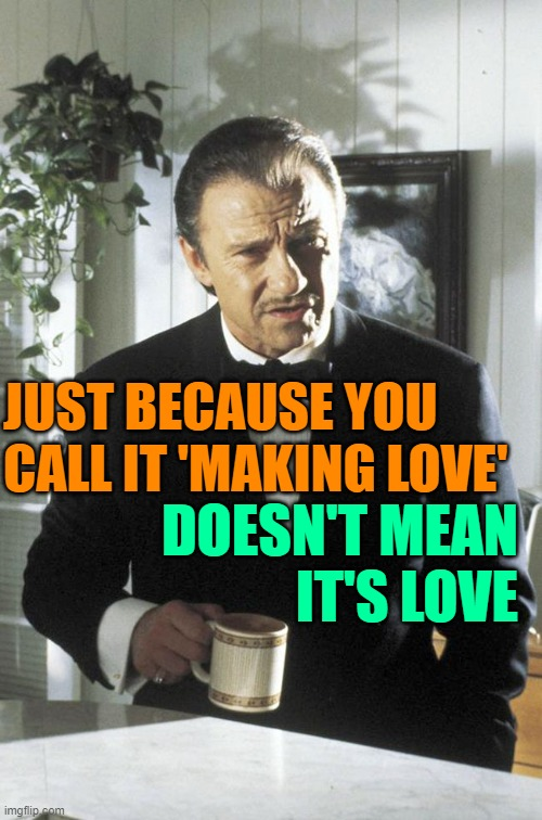 Just Because Love |  JUST BECAUSE YOU CALL IT 'MAKING LOVE'; DOESN'T MEAN IT'S LOVE | image tagged in mr wolf,love,life lessons,so true memes,just because,lmao | made w/ Imgflip meme maker
