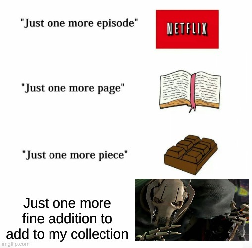 Just one more |  Just one more fine addition to add to my collection | image tagged in just one more,memes,funny,upvote if you agree,ship-shap | made w/ Imgflip meme maker
