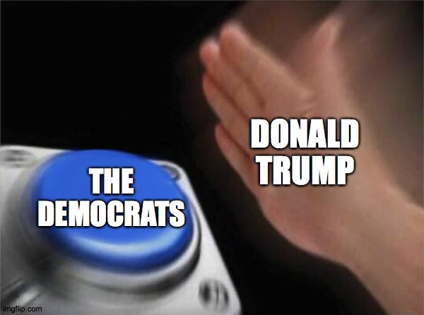 Blank Nut Button |  DONALD TRUMP; THE DEMOCRATS | image tagged in memes,blank nut button | made w/ Imgflip meme maker