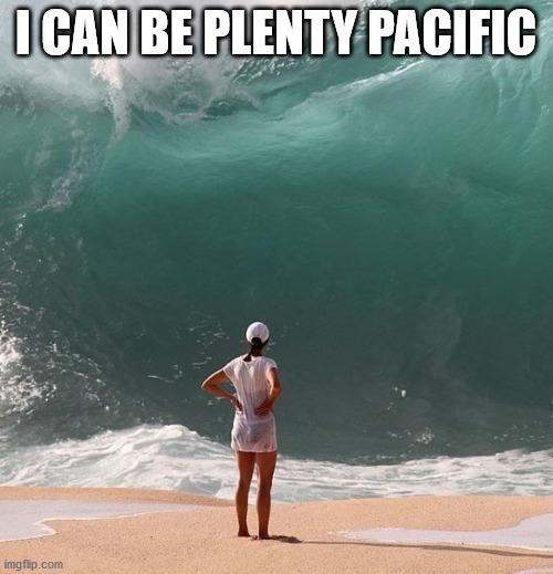Ocean and person | I CAN BE PLENTY PACIFIC | image tagged in ocean and person | made w/ Imgflip meme maker
