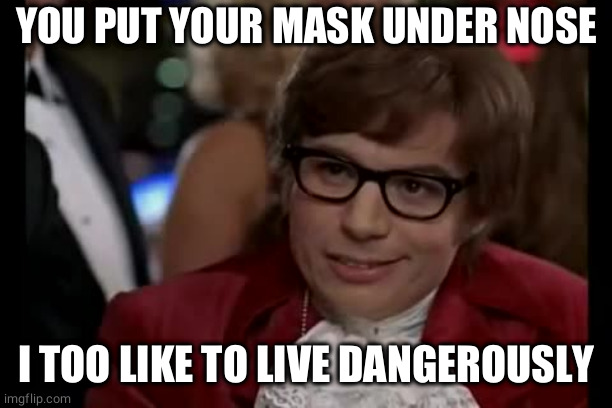 I Too Like To Live Dangerously |  YOU PUT YOUR MASK UNDER NOSE; I TOO LIKE TO LIVE DANGEROUSLY | image tagged in memes,i too like to live dangerously,mask,facemask | made w/ Imgflip meme maker