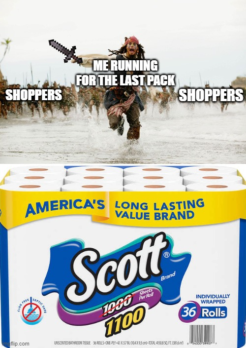 SHOPPERS; ME RUNNING FOR THE LAST PACK; SHOPPERS | image tagged in run away | made w/ Imgflip meme maker