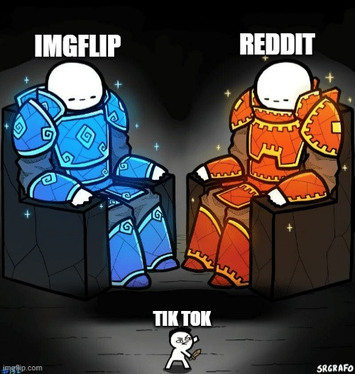 Two good sites looking at a trash one |  REDDIT; IMGFLIP; TIK TOK | image tagged in two giants looking at a small guy,memes,imgflip,reddit,tik tok | made w/ Imgflip meme maker
