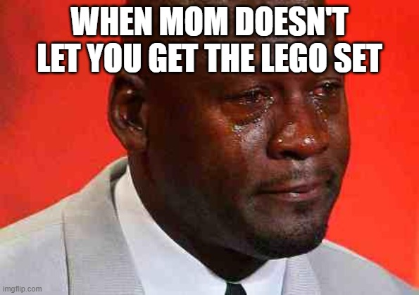 crying michael jordan |  WHEN MOM DOESN'T LET YOU GET THE LEGO SET | image tagged in crying michael jordan | made w/ Imgflip meme maker