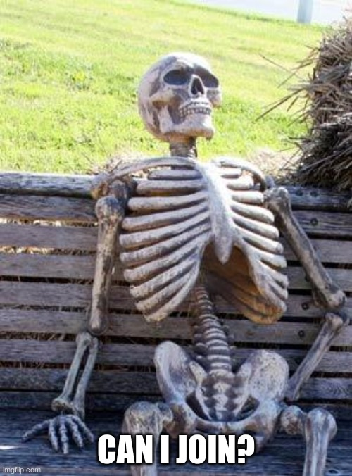 Waiting Skeleton Meme |  CAN I JOIN? | image tagged in memes,waiting skeleton | made w/ Imgflip meme maker