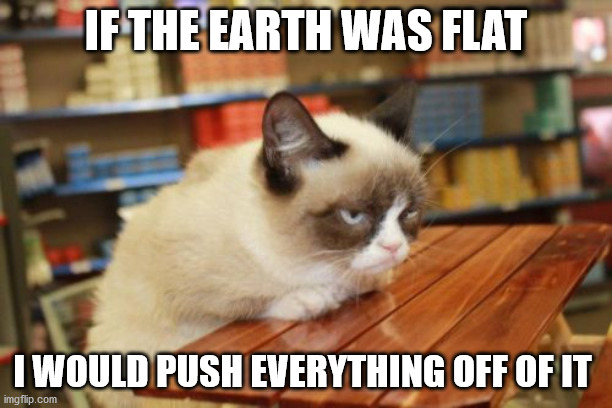 Grumpy Cat Table |  IF THE EARTH WAS FLAT; I WOULD PUSH EVERYTHING OFF OF IT | image tagged in memes,grumpy cat table,grumpy cat | made w/ Imgflip meme maker