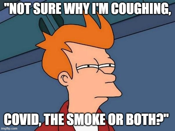"Not sure if- fry |  ""NOT SURE WHY I'M COUGHING, COVID, THE SMOKE OR BOTH?"" 
