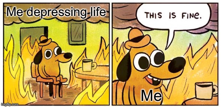 •—• |  Me depressing life; Me | image tagged in memes,this is fine | made w/ Imgflip meme maker