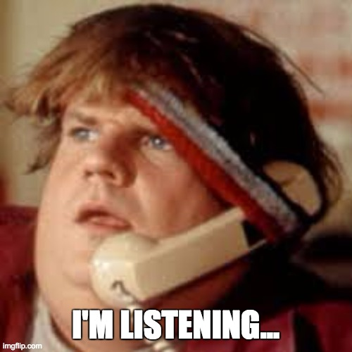 I'M LISTENING... | image tagged in i'm listening | made w/ Imgflip meme maker