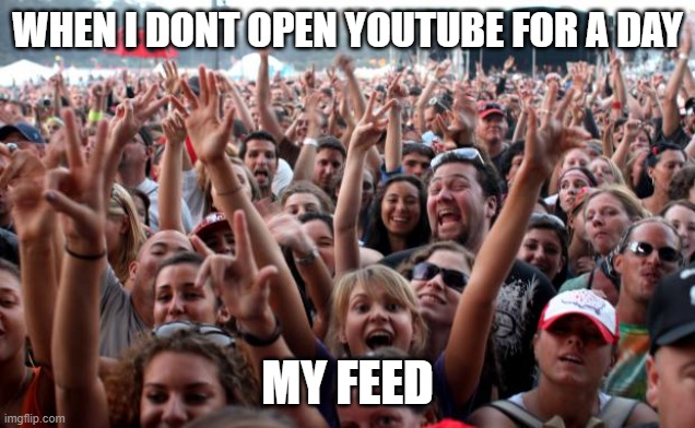 The Truth |  WHEN I DONT OPEN YOUTUBE FOR A DAY; MY FEED | image tagged in crowd,funny memes,memes,youtube | made w/ Imgflip meme maker