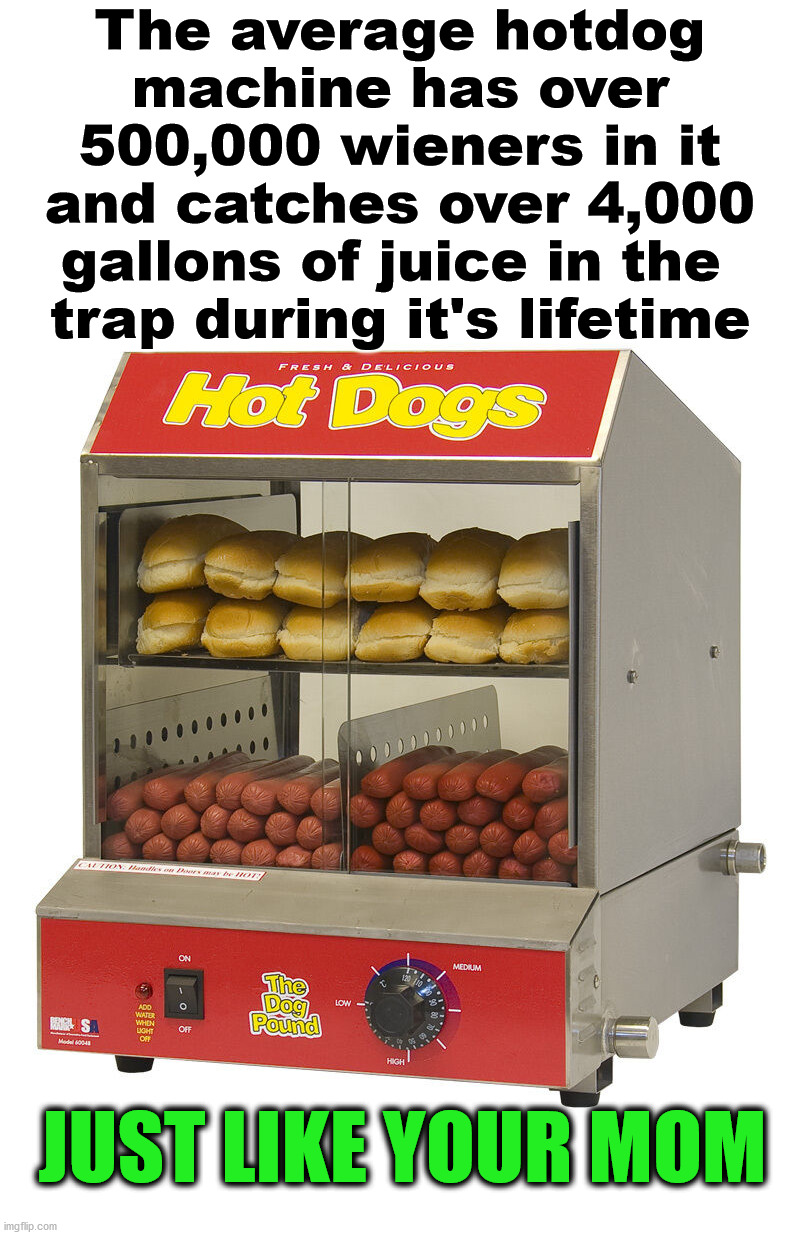 That is a bunch of wieners. |  The average hotdog machine has over 500,000 wieners in it and catches over 4,000 gallons of juice in the  trap during it's lifetime; JUST LIKE YOUR MOM | image tagged in yo mama,hotdogs,wiener,diss,mom | made w/ Imgflip meme maker