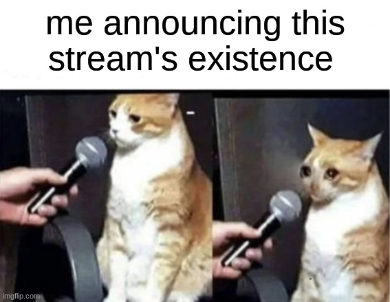 *sniff* it-it's proud to p-present.... le dyininside stream~ *cri* |  me announcing this stream's existence | made w/ Imgflip meme maker