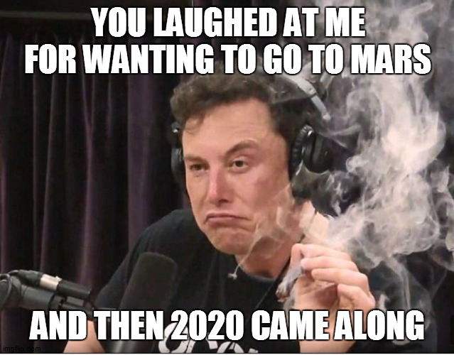 good guy elon |  YOU LAUGHED AT ME FOR WANTING TO GO TO MARS; AND THEN 2020 CAME ALONG | image tagged in elon musk smoking a joint,2020 | made w/ Imgflip meme maker