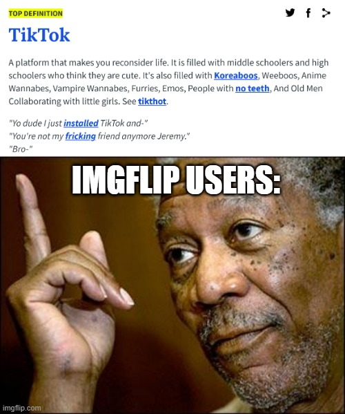 IMGFLIP USERS: | image tagged in this morgan freeman,memes,funny,tiktok,imgflip users,upvote if you agree | made w/ Imgflip meme maker