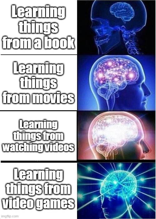 Probably a repost |  Learning things from a book; Learning things from movies; Learning things from watching videos; Learning things from video games | image tagged in repost,expanding brain | made w/ Imgflip meme maker