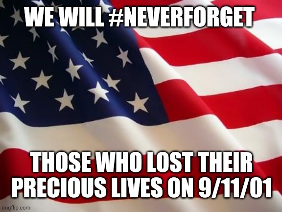 American flag |  WE WILL #NEVERFORGET; THOSE WHO LOST THEIR PRECIOUS LIVES ON 9/11/01 | image tagged in american flag | made w/ Imgflip meme maker