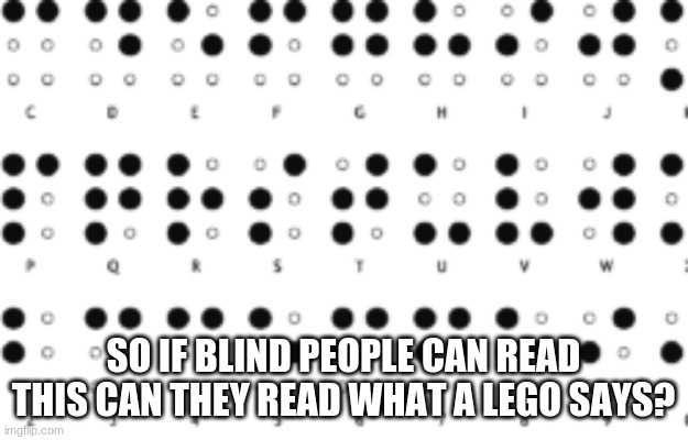 Blindness |  SO IF BLIND PEOPLE CAN READ THIS CAN THEY READ WHAT A LEGO SAYS? | image tagged in blind,funny memes,lego | made w/ Imgflip meme maker