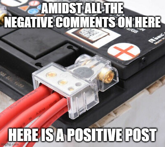negative |  AMIDST ALL THE NEGATIVE COMMENTS ON HERE; HERE IS A POSITIVE POST | image tagged in negative,positive | made w/ Imgflip meme maker