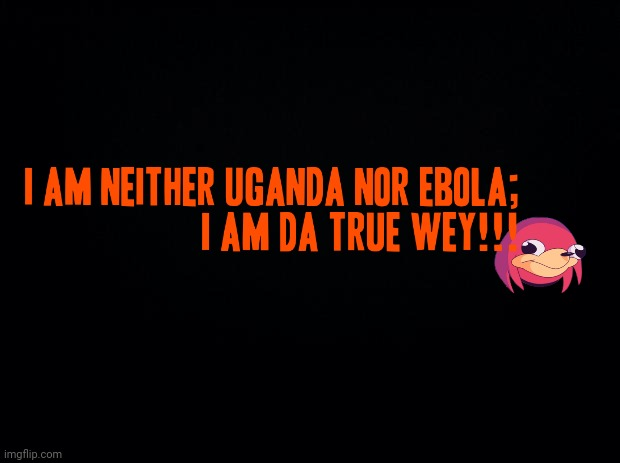 I am neither uganda nor ebola - i am da true wey!!! | image tagged in black background,ugandan knuckles,do you know da wae,memes,dank memes,da wae | made w/ Imgflip meme maker