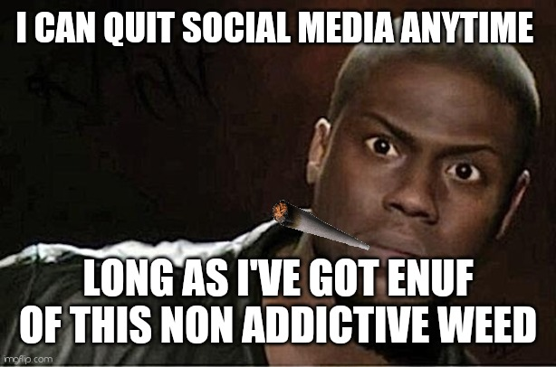 Dope a mean |  I CAN QUIT SOCIAL MEDIA ANYTIME; LONG AS I'VE GOT ENUF OF THIS NON ADDICTIVE WEED | image tagged in memes,kevin hart,social media | made w/ Imgflip meme maker