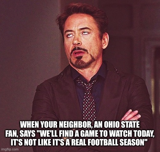 "Whatever... |  WHEN YOUR NEIGHBOR, AN OHIO STATE FAN, SAYS ""WE'LL FIND A GAME TO WATCH TODAY, IT'S NOT LIKE IT'S A REAL FOOTBALL SEASON"" 