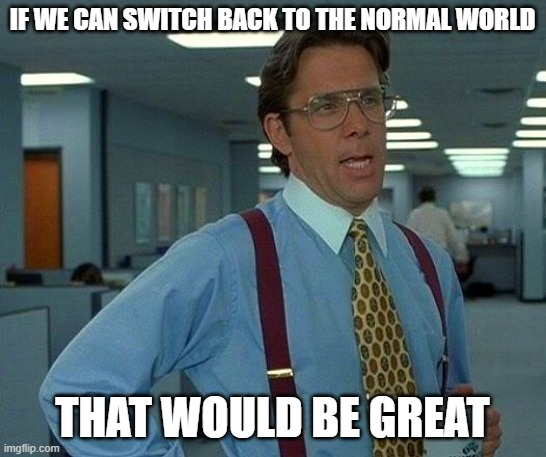 That Would Be Great Meme | IF WE CAN SWITCH BACK TO THE NORMAL WORLD THAT WOULD BE GREAT | image tagged in memes,that would be great | made w/ Imgflip meme maker