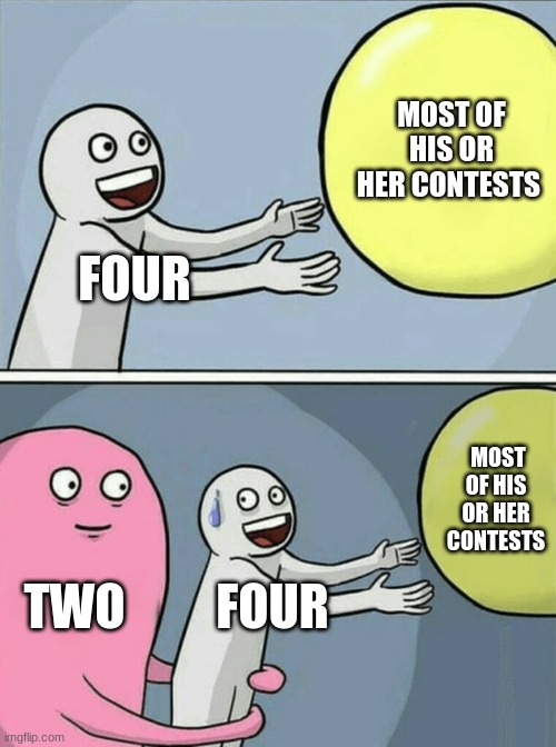 bfb 16 in a nutshell |  MOST OF HIS OR HER CONTESTS; FOUR; MOST OF HIS OR HER CONTESTS; TWO; FOUR | image tagged in memes,running away balloon | made w/ Imgflip meme maker