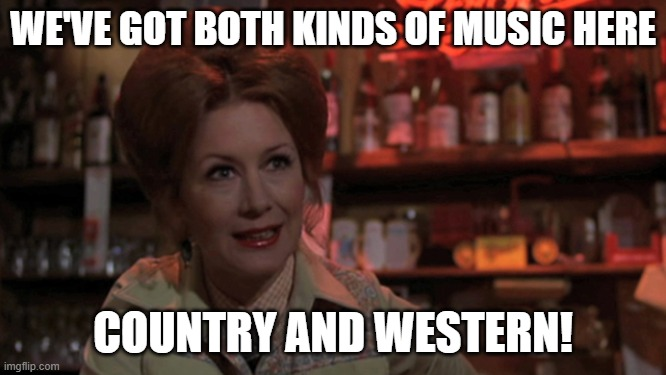 bob's country bunker | WE'VE GOT BOTH KINDS OF MUSIC HERE COUNTRY AND WESTERN! | image tagged in bob's country bunker | made w/ Imgflip meme maker