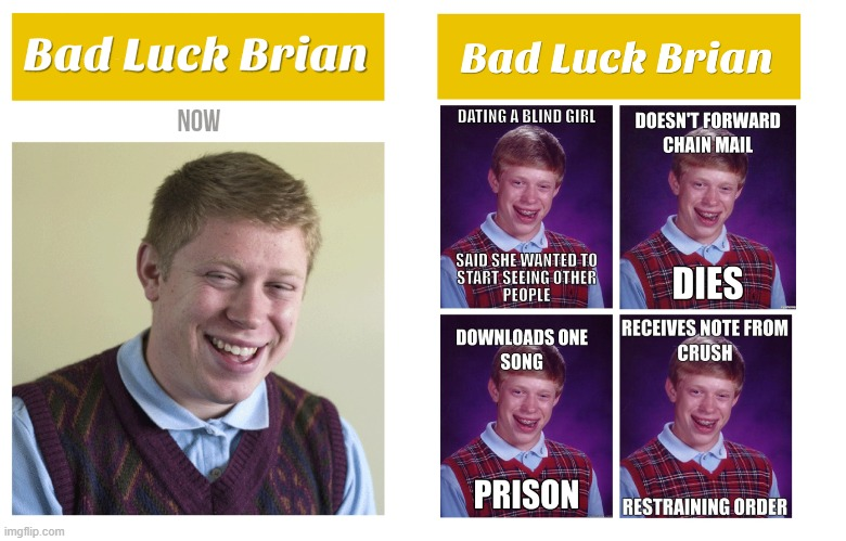 bad luck brian | image tagged in memes,bad luck brian,dang it,funny | made w/ Imgflip meme maker