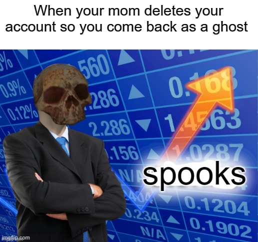 When your mom deletes your account so you come back as a ghost | image tagged in blank white template,stonks,meme man,spooky | made w/ Imgflip meme maker