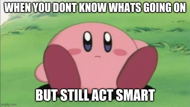 kirby |  WHEN YOU DONT KNOW WHATS GOING ON; BUT STILL ACT SMART | image tagged in kirby | made w/ Imgflip meme maker