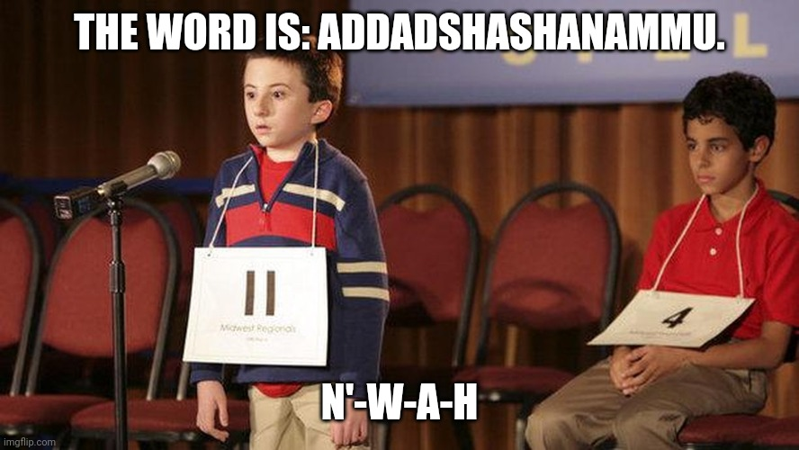 Morrowind name |  THE WORD IS: ADDADSHASHANAMMU. N'-W-A-H | image tagged in spelling bee | made w/ Imgflip meme maker