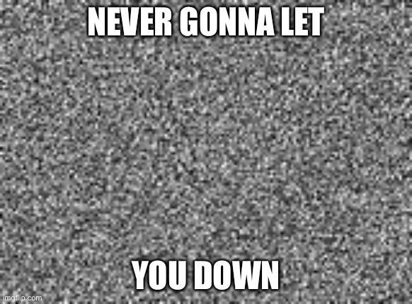 static | NEVER GONNA LET YOU DOWN | image tagged in static | made w/ Imgflip meme maker