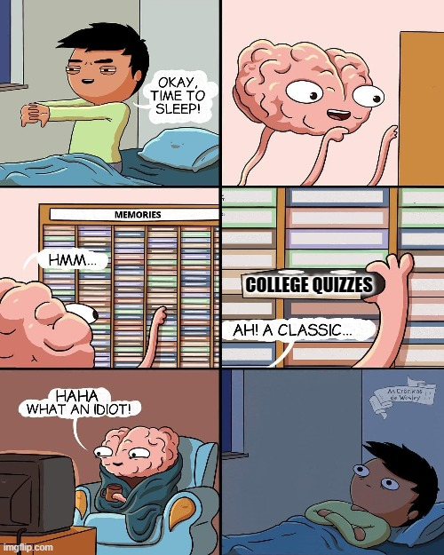 brain memories | COLLEGE QUIZZES | image tagged in brain memories | made w/ Imgflip meme maker